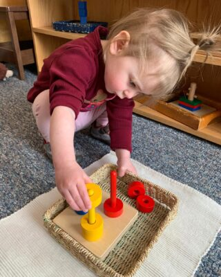 Color and shape sorting! The toddlers are hard at work working on fine motor skills and ability to distinguish colors! 🔴🟡🔵 #duluthmoms #toddlerlife #montessori