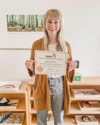 Congratulations to our Toddler Guide, Caleigh, for graduating with her Infant/Toddler Montessori Diploma! She brings a positive energy to our school, and specifically to our Toddler Community. Caleigh has always been dedicated to our child-centered philosophy, respecting the child and their incredible potential. We are so proud of her!