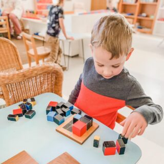 Trinomial Cube time! This is a sensorial material found in the Children's House (ages 3-6). It challenges the child to find patterns and spatial relationships. It is a fantastic hands on learning material that indirectly prepares the child for future work with algebra! #montikids #duluth #montessori